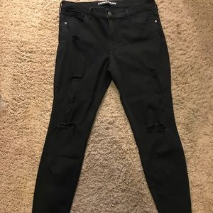 Express black distressed skinny jeans